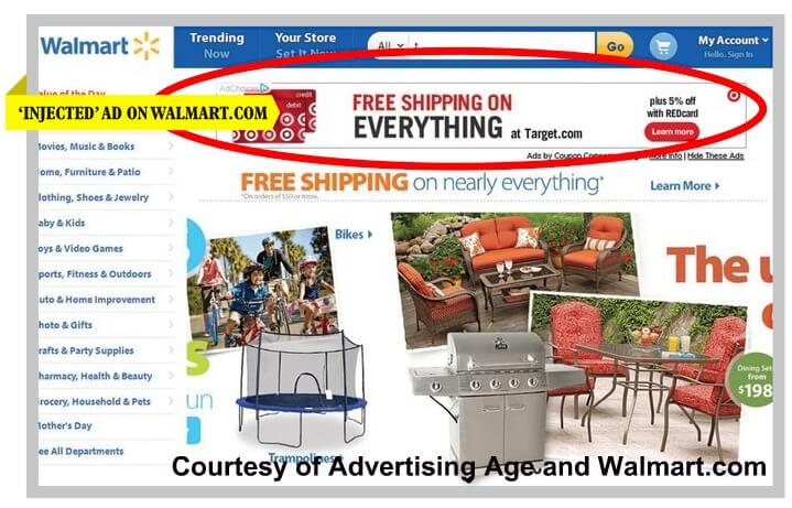 ad injection for walmart with target ad