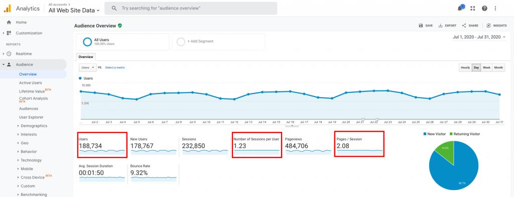 Google Analytics audience overview data