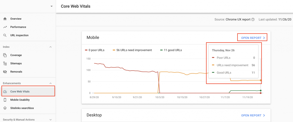 WEB VITALS OF SEARCH CONSOLE