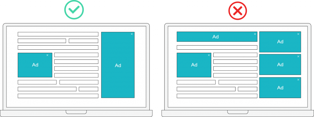 ads vs content on website