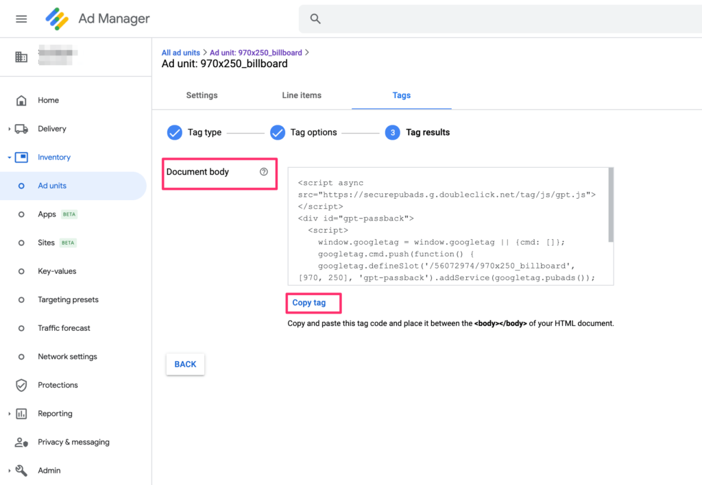 google ad manager tag results body