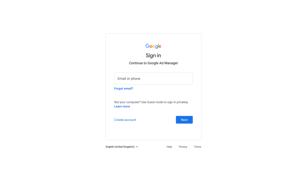 Google Ad Manager Sign In Page