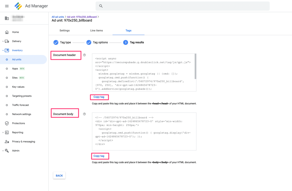 google ad manager tag results header body