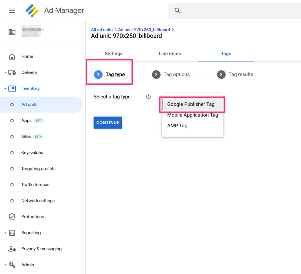 google ad manager google publisher tag selection