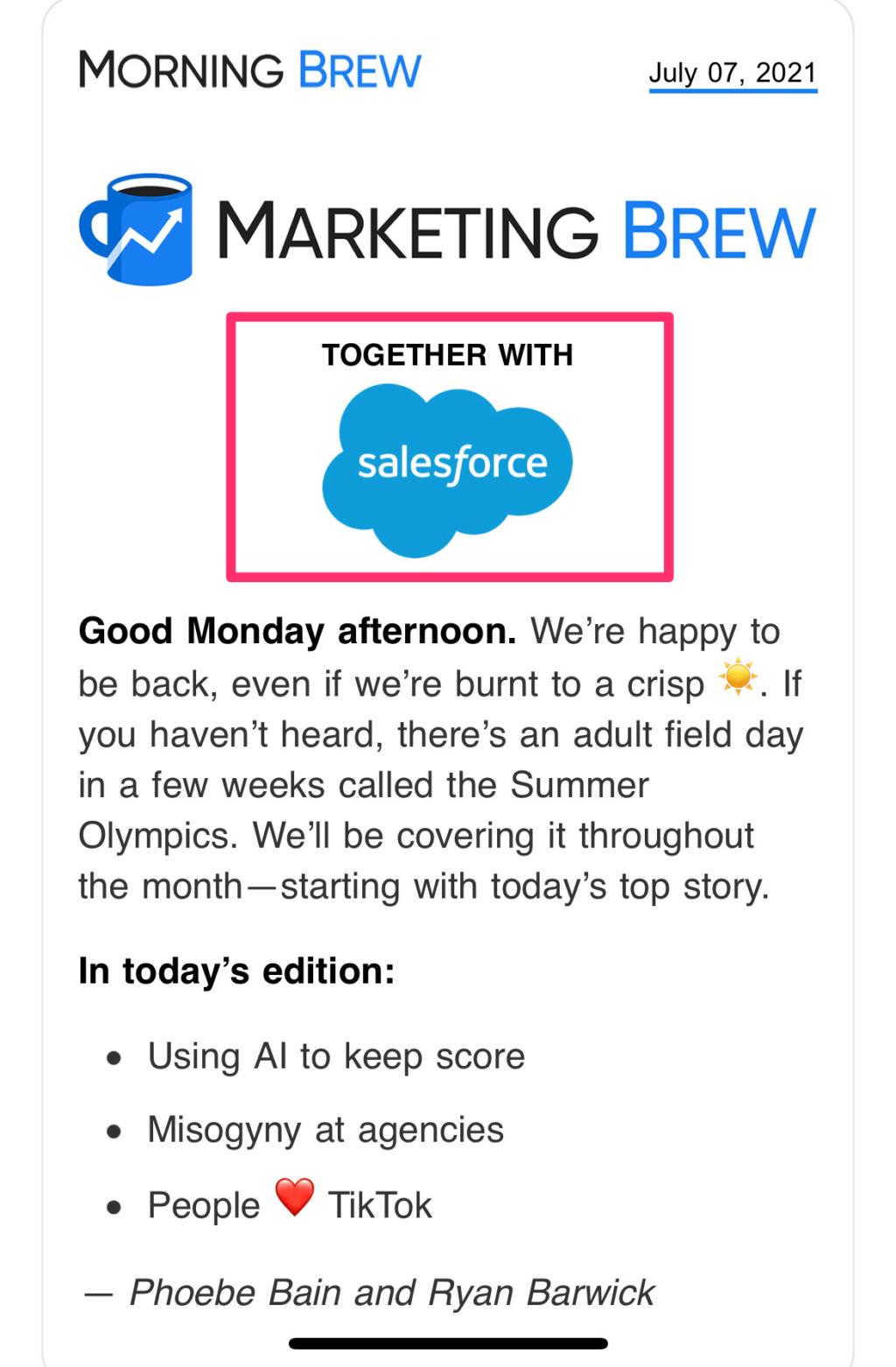 sponsored publisher email newsletter example