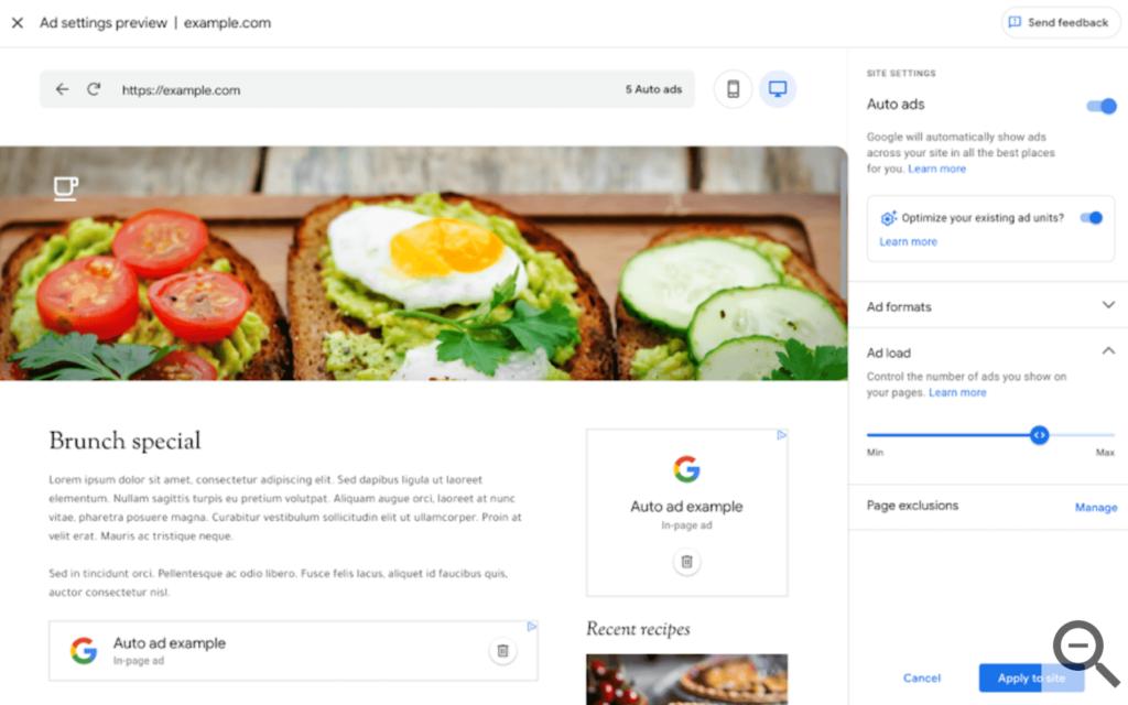 google adsense auto ads example