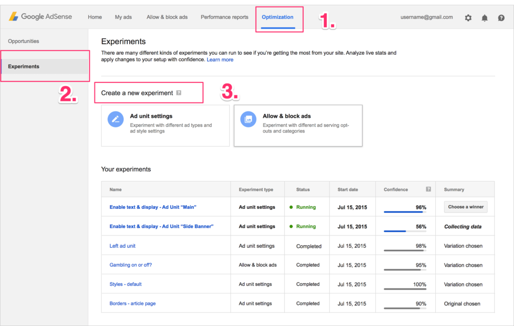google adsense experiments